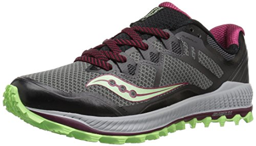 Saucony Women's Peregrine 8 Running Shoe, Black/Mint, 5 Medium US