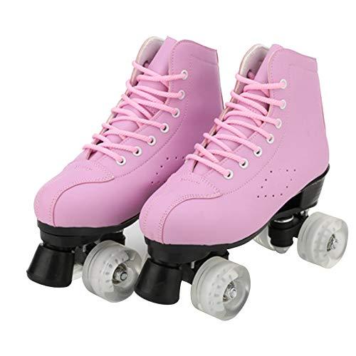 Canvas Boot Quad Rolschaatsen Voor Kinderen Met Led-Verlichting, Dames Veterboots Hoge Top, Retro Quad Rolschaatsen of Volwassenen En Kinderen Heren En Dames,Pink pu wheel,EU34