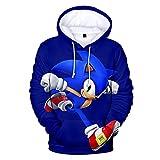Sudadera con Capucha 3D de Sonic Sudadera de Manga Larga Casual Nios/Nias Ropa Chaqueta de Dibujos Animados de Padres e Hijos Chndal