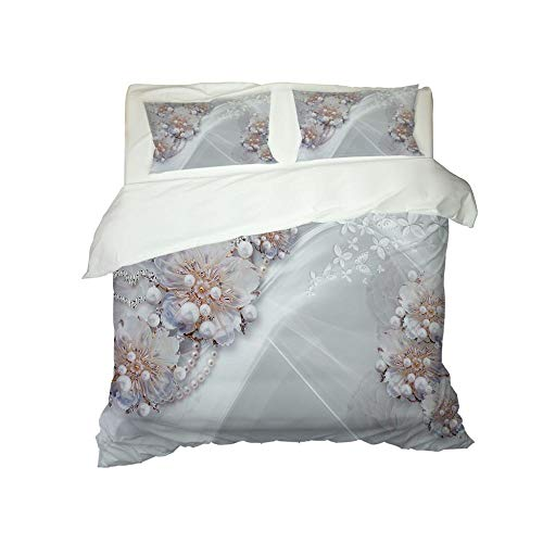 HJKGSX Duvet Cover Set Bedding 3 Pieces Microfiber Polyester Quilt Cover with 2 Pillow Cases Easy Care Anti Allergic Soft Smooth White pearl print94.4 x 86.6inch - King