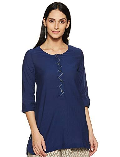 BIBA Navy Blue Straight Cotton Kurti Size 34