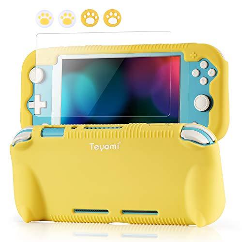 Teyomi Hülle für Nintendo Switch Lite Silikon Schutzhülle mit Schutzfolie, 4 PCS Joystick Kappen und Spiel Kartensteck Plätze, Case Skin mit Standhaft, Stoßdämpfendem und Kratzfestem Design
