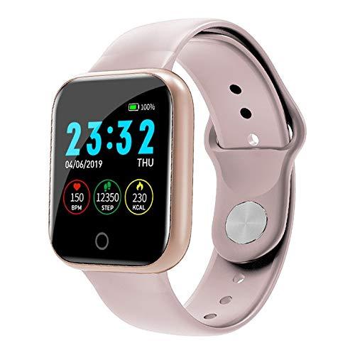 Smartwatch I5 Smart Watch Pedometer Frauen Männer Smartwatch Herzfrequenz Sport Fitness Tracker IP67 Wasserdichtes Fitness Armband Tracker Band (Color : Pink)