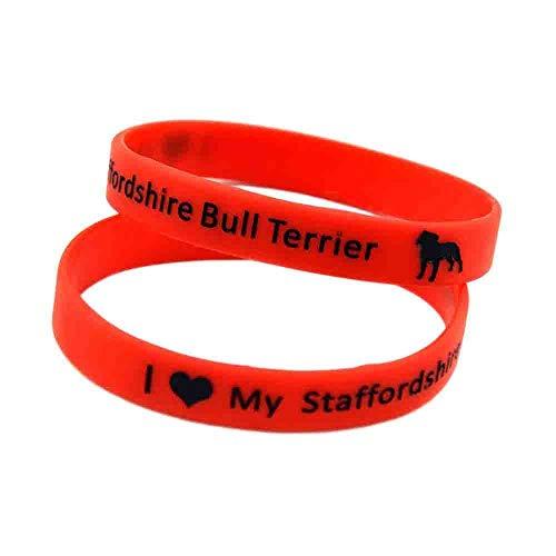 HAIHF Pulseras de Silicona, Pulseras de Silicona con Refranes Amo a mi Staffordshire Bull Terrier Regalo de cumpleaños de Pulseras Inspiradoras Suaves para Adultos y niños, 6 Piezas