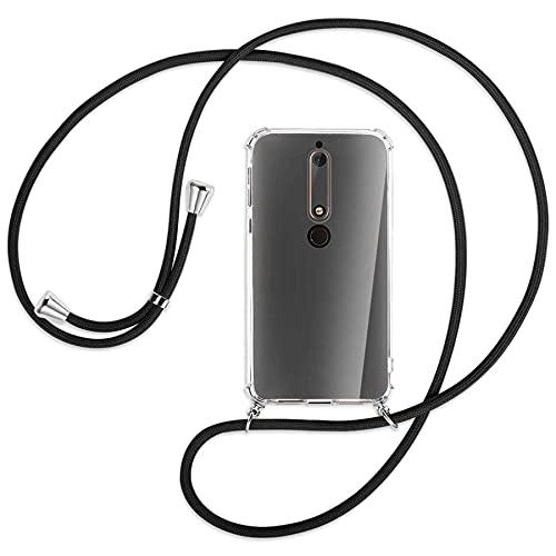 mtb more energy® Handykette kompatibel mit Nokia 6.1 (5.5'') - schwarz - Smartphone Hülle zum Umhängen - Anti Shock Full TPU Hülle