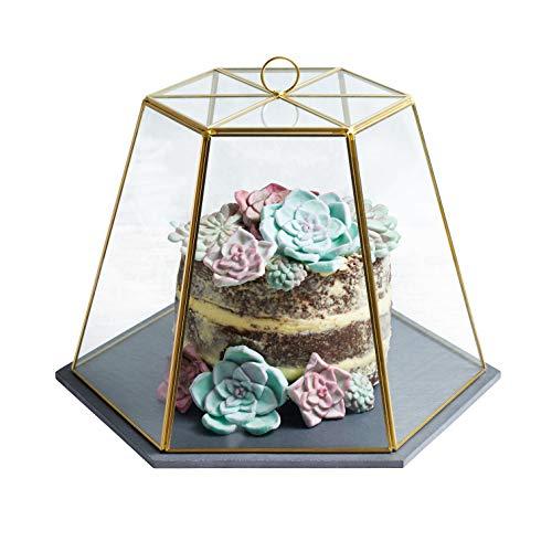 Artesà Dôme à fromage en verre géométrique avec plateau de service en ardoise Effet laiton 31 x 27,5 x 25 cm