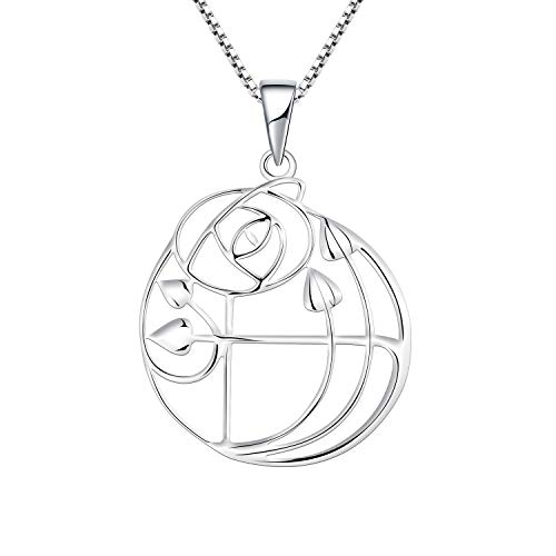 YL Women Silver Necklace 925 Sterling Silver Charles Rennie MacKintosh Rose Glasgow Rose Pendant Necklace for Women Ladies Girls Girlfriend