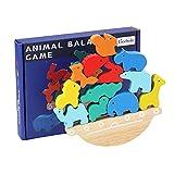 Cowslip Juguete de equilibrio de dinosaurio de madera, juguete Montessori, barra de equilibrio, apilable, práctico juguete educativo para niños, juego interactivo para padres e hijos