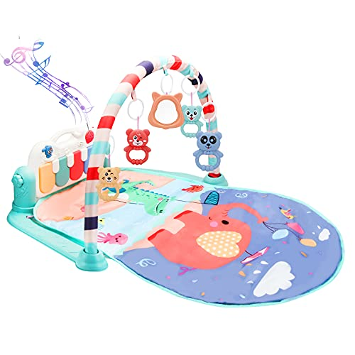 Baby Gym Play Mat Activity Center Gym Mat Tummy Time Mat Kick and Play Piano Baby Gym 34 Inch Play Mat with Upgrade USB Port for Charging 5 Hanging Toys Baby Toys 18 Months (Green)