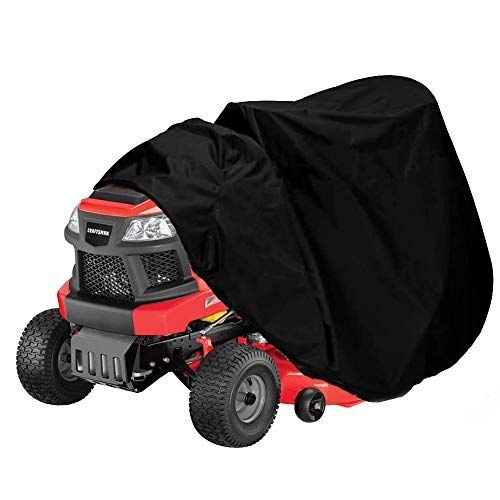 "Lawn Mower Cover Waterproof Lawn Tractor Cover Oxford Heavy Duty Durable Storage Cover Fits Decks up to 54"", UV and Water Resistant All Season Protection, Black"