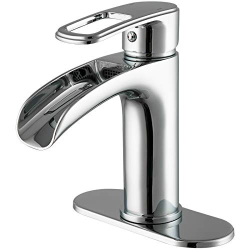FRUD Waterfall Bathroom Sink Faucet, Single Handle Bath Vanity Faucets Chrome Modern Commercial Lavatory Farmhouse Faucet & Deck Mounted(1 Hole or 3 Hole)