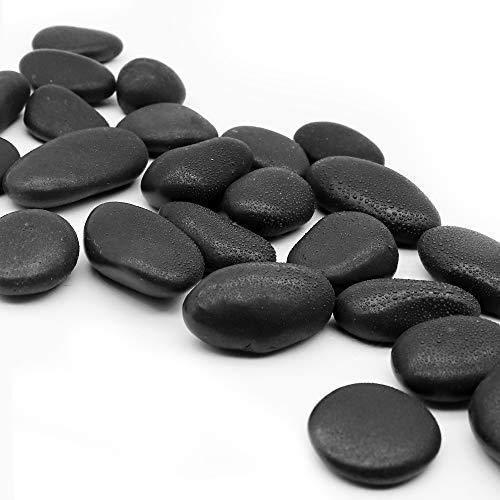 Msrlassn Piedra Decorativa Pulido Grandes guijarros Negros para paisajismo, decoración del hogar, Manualidades, Proyecto de Arte (Negro 1 kg)