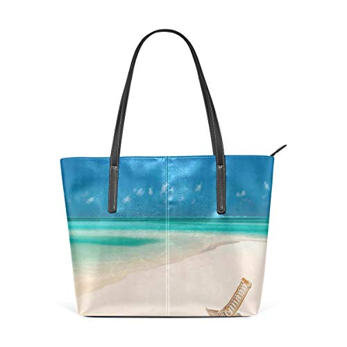 NR Multicolour Fashion Damen Handtaschen Schulterbeutel Umhängetaschen Damentaschen,Klappstuhl auf Sandy Tropical Beach Relaxing Holidays Seascape Picture