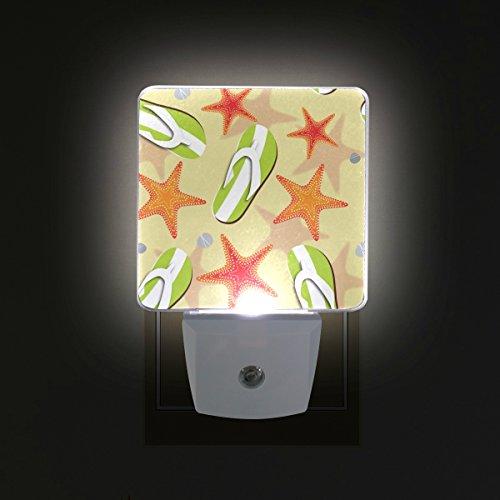 COOSUN Flip Flops und Seesterne Stecker in LED-Nachtlicht Selbst-Sensor Smart-Dämmerung bis Dämmerung dekorativer Nacht für Schlafzimmer, Badezimmer, Küche, Flur, Treppen, Flur, Baby Zimmer, Energie