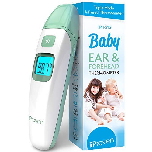 Forehead Thermometer for Babies, Kids and Adults, Baby Forehead and Ear Thermometer with Mute Function and Object Mode, Quick and Accurate Readings, iProven Digital TMT-215 Green