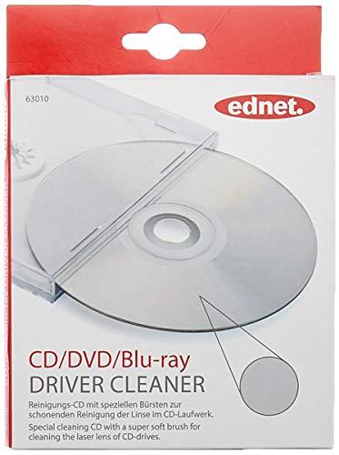 ednet Reinigungs-CD - Spezielle Bürsten zur Reinigung der Linse - Für CD-Player, DVD-Player, Laufwerk, Autoradio, PS4