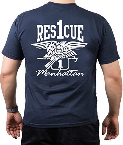Feuer1 Rescue1 Tee-shirt Motif aigle pompiers de Manhattan New York Bleu Bleu L
