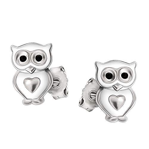 CLEVER SCHMUCK Silberne kleine Kinder Ohrstecker Mini Eule 6 x 5 mm weiß lackiert Augen schwarz mit Mini Herz glänzend Sterling Silber 925