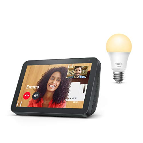 Echo Show 8, Tela de color antracita + TP-Link Tapo Bombilla Inteligente (E27), compatible con Alexa