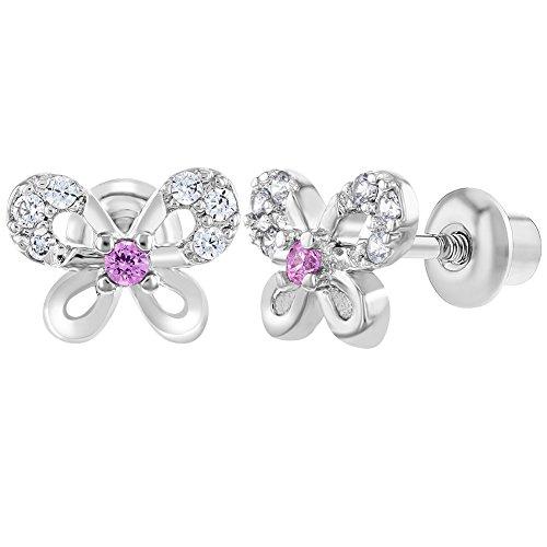 In Season Jewelry - Kleinkind Kinder - Schraubverschluss Ohrringe Klar Schmetterling Rhodiniert Rosa CZ Zirkonia