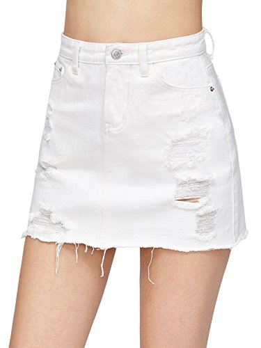 Verdusa Women's Casual Distressed Fray Hem A-Line Denim Short Skirt White L