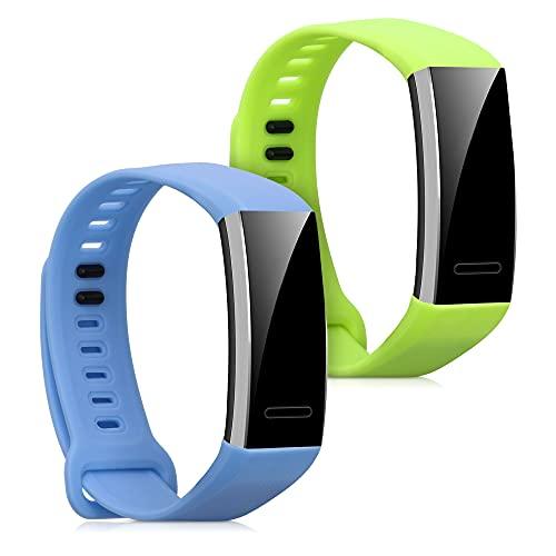 kwmobile 2X Brazalete Compatible con Huawei Band 2 / Band 2 Pro - Pulsera de Silicona Azul Claro/Verde Claro sin Fitness Tracker