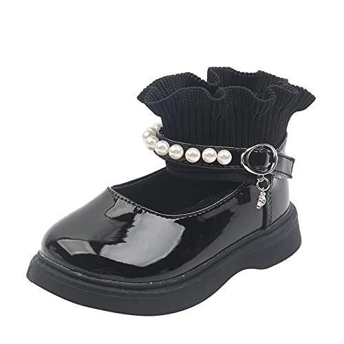 Zapatos de bebé para niños pequeños, niñas, princesa, zapatos de piel, perlas de lana, elásticos, zapatos de baile de piel suave, Negro , 26 EU