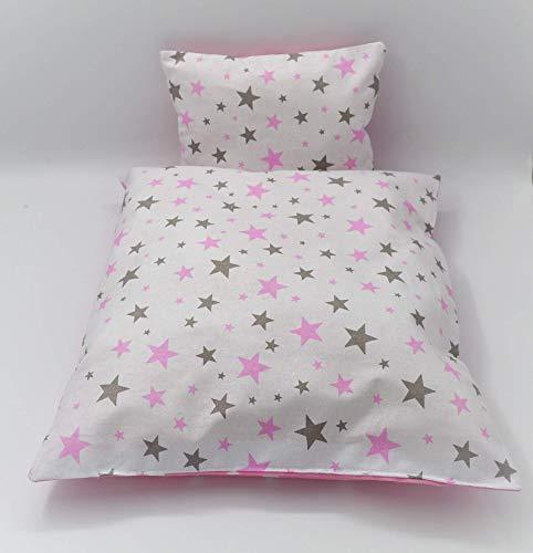 Kissen und Decke für Puppenwagen, 2-teilige rosa Puppenbettwäsche 'star dust', Baumwolle, handgearbeitet.