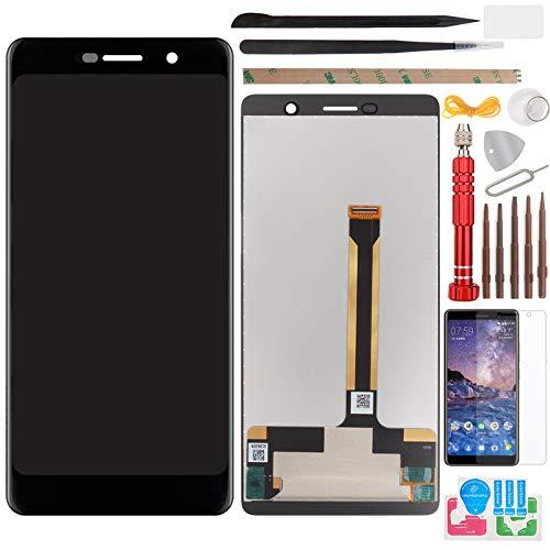 YHX-OU 6.0' para Nokia 7 Plus Pantalla LCD Juego de digitalizador táctil de repuesto de pantalla con herramienta de instalación + 1 pieza de cristal templado (negro)