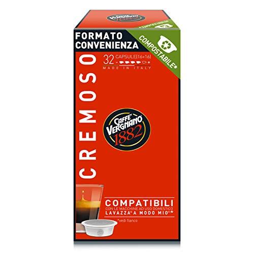 Caffè Vergnano 1882 Capsule Caffè Compatibili Lavazza a Modo Mio Compostabili, Cremoso, 128 Unità - 1 Kg