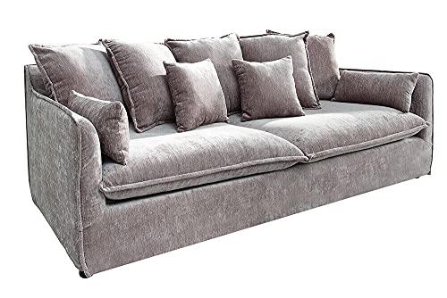 GXK Großes Hussensofa 3-Sitzer 210cm Taupe Samt Sofa inkl. Kissen Couch