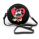 Dibujos animados Mickey Minnie moda cuero redondo bolso de hombro cartera personalidad impermeable cruz cuerpo bolsa para mujeres y hombres