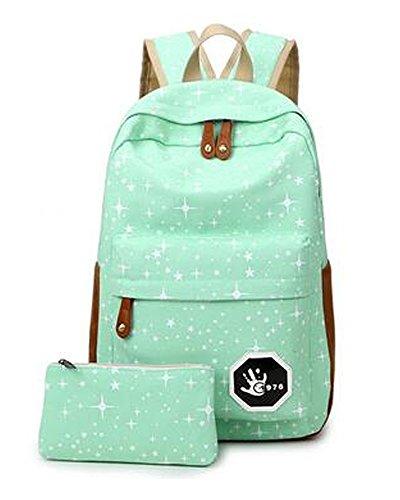 Minetom Lona Backpack Mochilas Escolares Mochila Escolar Casual Bolsa Viaje Moda Salpicado De Estrellas 2 Piezas Embrague Verde One Size(28 * 13 * 42 Cm)