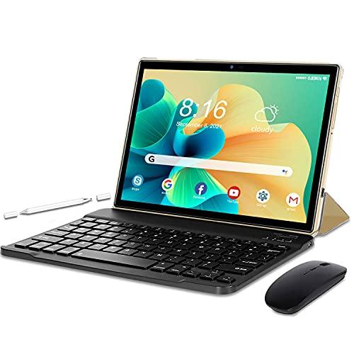 Tablet 10 Pulgadas Baratas y Buenas Android 10.0 5G WiFi Quad-Core 4GB RAM 64GB ROM, Dual WiFi, Dual SIM, Teclado,Ratón,Bluetooth,OTG, GPS,128GB Espandibili- Dorado