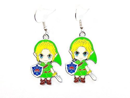 The Legend of Zelda inspired LINK Charm Character holding Sword and Shield Drop Dangle Earrings W/ Gift Box