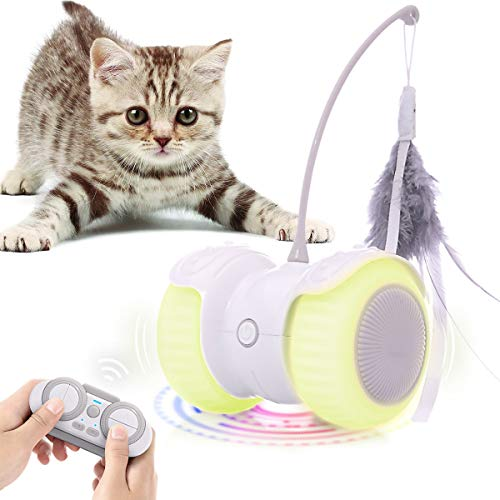 Feeko Remote Control Interactive Cat Toys, 13 in 1 Dual Modes Automatic Rolling Kitty Toys, Build-in Color Light, USB Charging Smart Cat Toy, Feather/Bells Cat Toys for Indoor Cats Kitten (White)