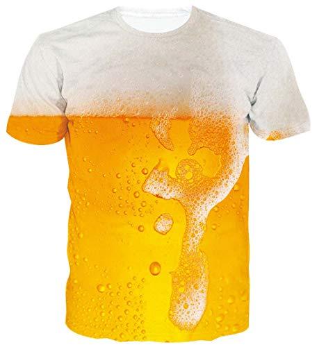 ALISISTER 3D Tshirts Herren Damen Neuheit Bier Druck Hässlich T-Shirt Beiläufig Party Kurzarm T-Shirts Tops für Jungen Mädchen M