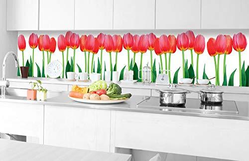 Zelfklevende keuken achterwand BED VAN TULPEN 350 x 60 cm | Zelfklevende spatwand keukenfolie | Waterbestendige folie voor de keuken | PREMIUM KWALITEIT | Gemaakt in de EU