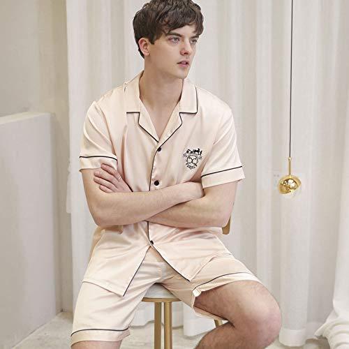 KTUCN Sommer-Pyjama-Set für Herren, Schlafkleidung aus Satin, kurze Hose mit kurzen...
