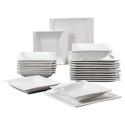 MALACASA, Serie Carina, Cremeweiß Porzellan Geschirrset 24 TLG. Set Kombiservice, beinhaltet 12 Flachteller und 12 Suppenteller für 12 Personen