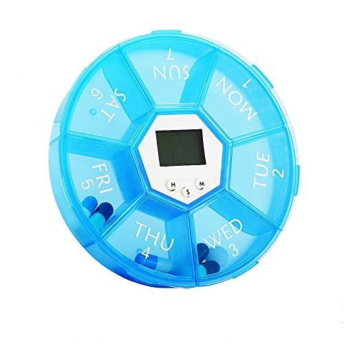 FZ FUTURE Pastillero semanal electronico con Alarma, Caja medicamentos electrónicos recordatorio, 7 Compartimentos para Dispensador Píldora Medicamentos Vitamina Ayuda a los Ancianos,Azul,3PCS
