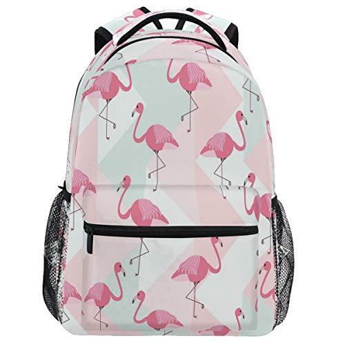 Oarencol Flamingos Mochila geométrica Verano Animal Birds Bookbag Daypack Viaje Senderismo Camping Escuela Bolsa Portátil