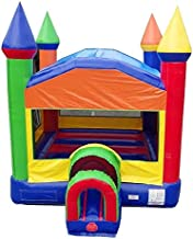Rainbow Red, Yellow & Blue Bounce House with Tunnel Entrance, 14-Foot Long by 14-Foot Wide by 15-Foot Tall, Commercial Grade Inflatable, Blower and Stakes Included
