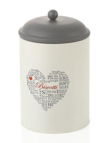 Pot Cylindrique MONTEMAGGI fer blanc et ardesia. Boîte Biscuit Rond avec Couvercle Hermétique avec inscriptions et decorazione. Dimensions : 13,5 x 13,5 x 17 cm