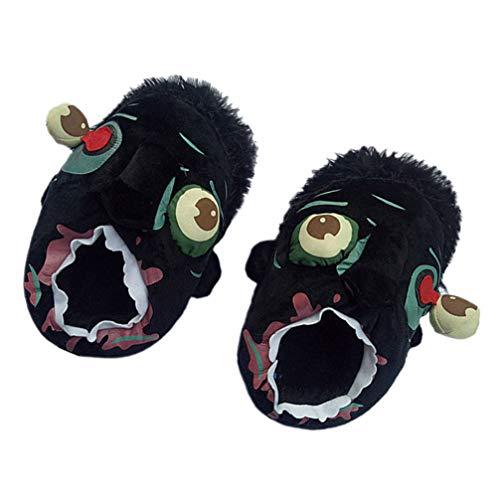 LIOOBO 1 par de Zapatillas Divertidas de Halloween Zapatillas de Zombie Zapatillas de Algodón de Dibujos Animados Zapatillas Antideslizantes para Regalos de Fiesta de Halloween (Negro)
