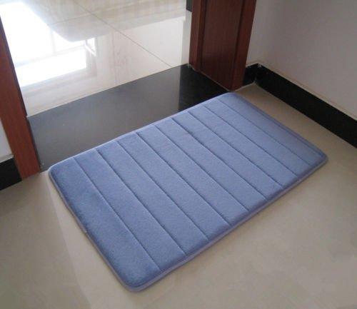Naisicatar - Alfombrilla de baño de espuma viscoelástica absorbente y lujosa, 43,18 x 60,96 cm, color azul