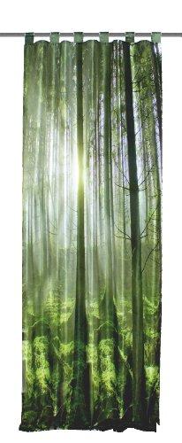 Home Fashion 48133-868 Schlaufenschal Digitaldruck Grüner Wald, 245 x 120 cm, Seidenoptik, grün