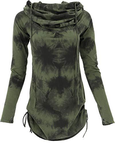 Guru-Shop Camiseta de manga larga, minivestido con capucha ancha, para mujer, algodón, jersey, manga larga y sudaderas alternativas Verde/Batik Small/Medium