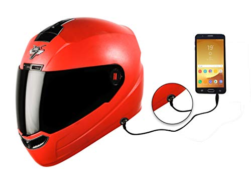 Steelbird SBA-1 7Wings HF Dashing Full Face Helmet with Smoke Visor and Detachable Handsfree Device (Large 600 MM Slim Fit, Red)