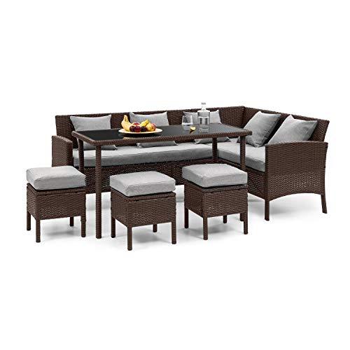 blumfeldt Titania Dining Lounge Set - Juego de muebles de jardín (5 piezas: sofá esquinero, mesa y 3 taburetes, 7 asientos, cojín de asiento de 8 cm, incluye fundas en gris claro, ratán), color marrón